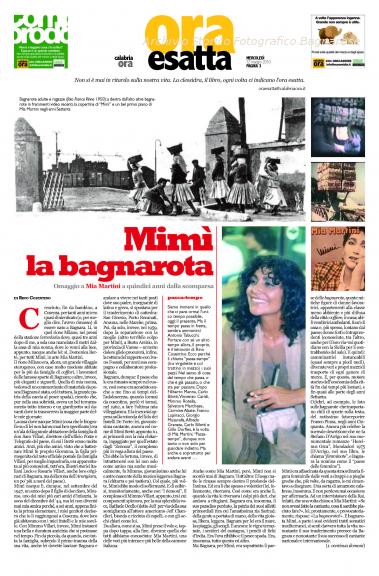 Mimì la bagnarota – Mia Martini e Bagnara articoli di Rino Cosentino tratti da Calabriaora del 12 e 13  maggio 2010