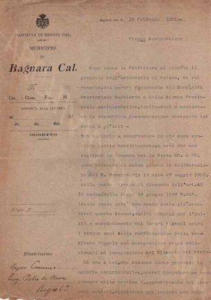 Lettera all'ing. Pietro De Nava del sig. L. Porpora delegato del commissario, sull'acquedotto di Solano  10/2/1922