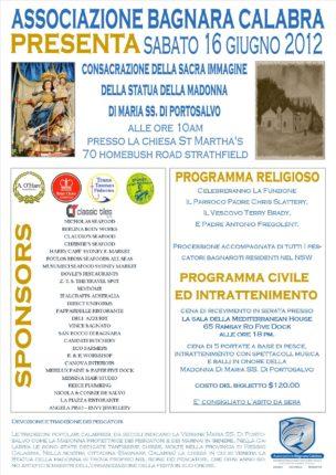Sarà consacrata sabato 16 giugno una statua della madonna di Portosalvo
