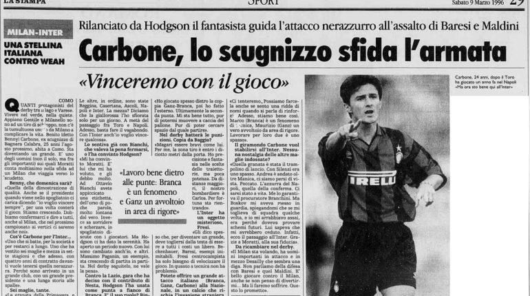 bagnara Omaggio al campione bagnarese  Benny Carbone  Alcuni articoli (dal 1993 al 1996)