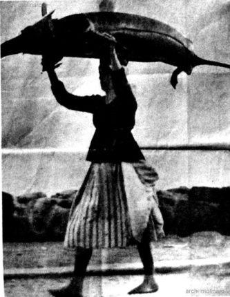 Anni 70  Foto di una bagnarota con grosso pescespada sulla testa  arch. Rosario Molinaro