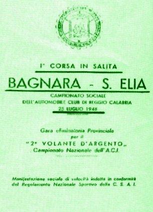 Manifesto della gara automobilistica Bagnara - S. Elia