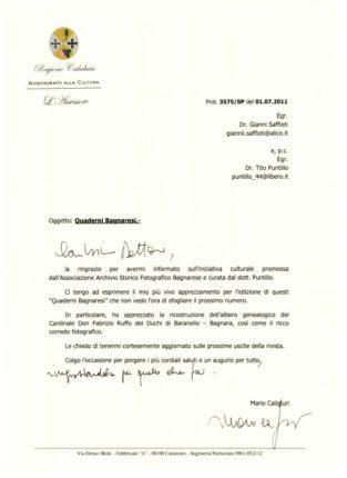 APPREZZAMENTI DELL' ASSESSORE ALLA CULTURA DELLA REGIONE CALABRIA MARIO CALIGIURI