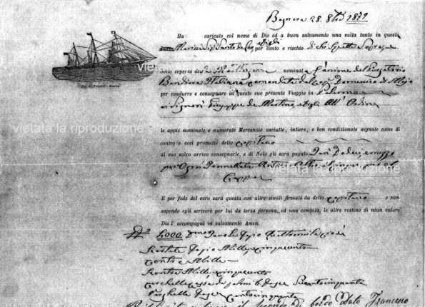 DOCUMENTO DI NAVIGAZIONE USATO DAI BASTIMENTI CHE PARTIVANO DA BAGNARA  DOPO LA META' DEL 1800  (vista parziale)