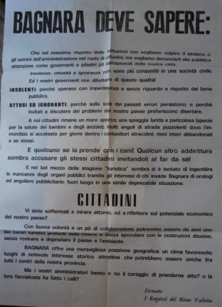 """Curiosamente questo manifesto è senza data ed è riconducibile alla metà degli anni ottanta - firmato i ragazzi del rione Valletta   della serie """"u mari è sempri salatu"""" ve lo proponiamo nella sua totale ed onesta ingenuità"""