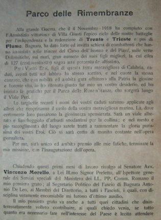 1925 - IL PARCO DELLE RIMEMBRANZE A BAGNARA CALABRA