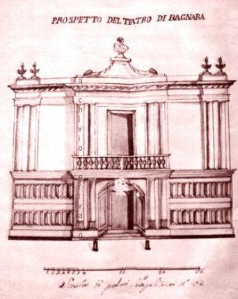DISEGNO DEL TEATRO COMUNALE COME DA PROGETTO (1800)  il teatro era locato in strada Nastari oggi via Nastari bagnara