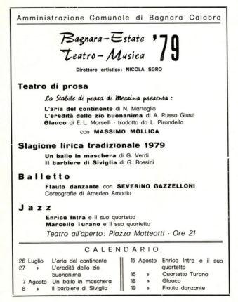Programma dell'estate bagnarese nel 1979  Locandine tratte dall' archivio del dott. Carmine Versace