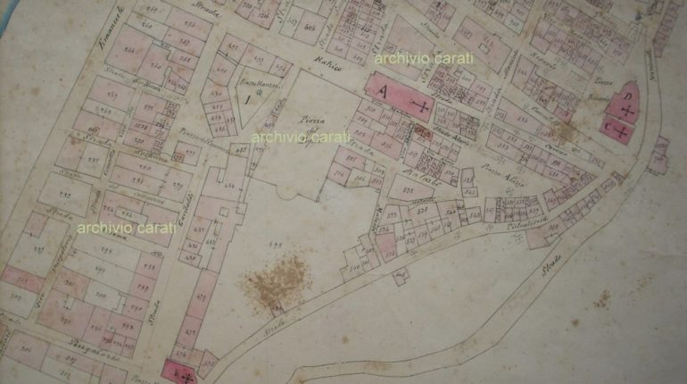 Il centro cittadino in una mappa della fine del 1800