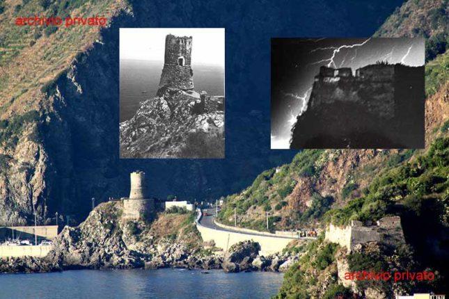 Agosto 2014  Il centro cittadino in due istantanee riprese da sud  con in evidenza i due monumenti più antichi della cittadina  la torre Aragonese martoriata dal restauro e la rupe di Marturano decadente e abbandonata a se stessa