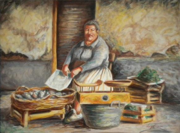 """a Bagnarota"" - olio su tela - anno 2011 - dim. cm. 80x 60   Autore : Luigi Porcino   Proprietario : Mariano Cacciola"