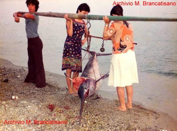 Marinella di Bagnara Calabra anni 70  La pesa del pescespada  particolare di una foto di Mimmo Brancatisano