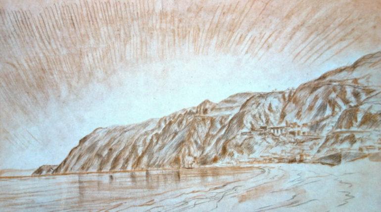 Panorama di Bagnara in un disegno dei primi del novecento  di Teodoro Brenson