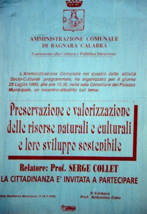 MANIFESTO DEL 1995 DI UN INCONTRO-DIBATTITO CULTURALE  a cura dell' amministrazione con sindaco il prof. antonino Dato