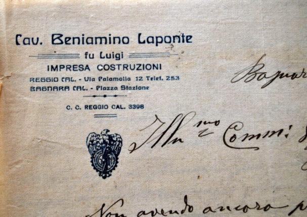 Carta intestata del cav. Beniamino Laponte  Impresa costruzioni  - 1917 -