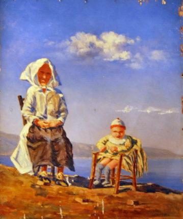 Quadro di Luigi Cristina  le modelle in primo piano sullo sfondo della costa viola sono  la signora Iaria Gaetana e la nipote Maria Saffioti