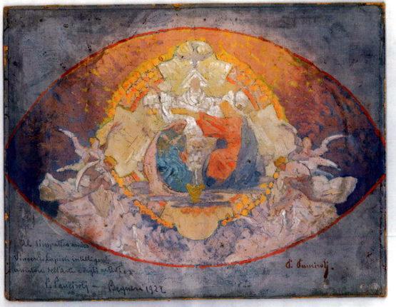 Bozzetto della calotta dell'abside della chiesa del SS. Rosario di Bagnara disegno di Primo Panciroli su commissione dell' avv. Vincenzo Lupini