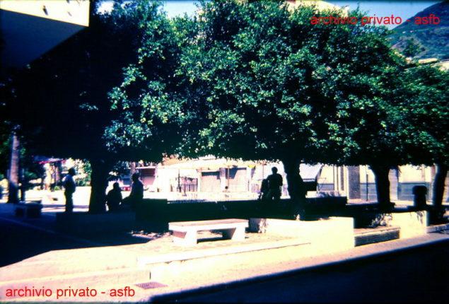 Gli alberi di piazza Marconi angolo via Giacomo Denaro alla fine degli anni 80