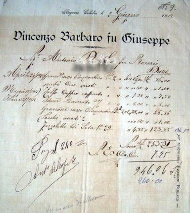 Una fattura del sig. Vincenzo Barbaro del 2 giugno 1912