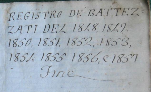 bagnara registro dei battezzati 1848 - 1857