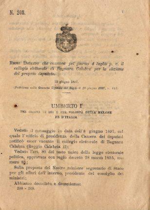 Decreto convocazione collegio elettorale  di  Bagnara Calabra 1897