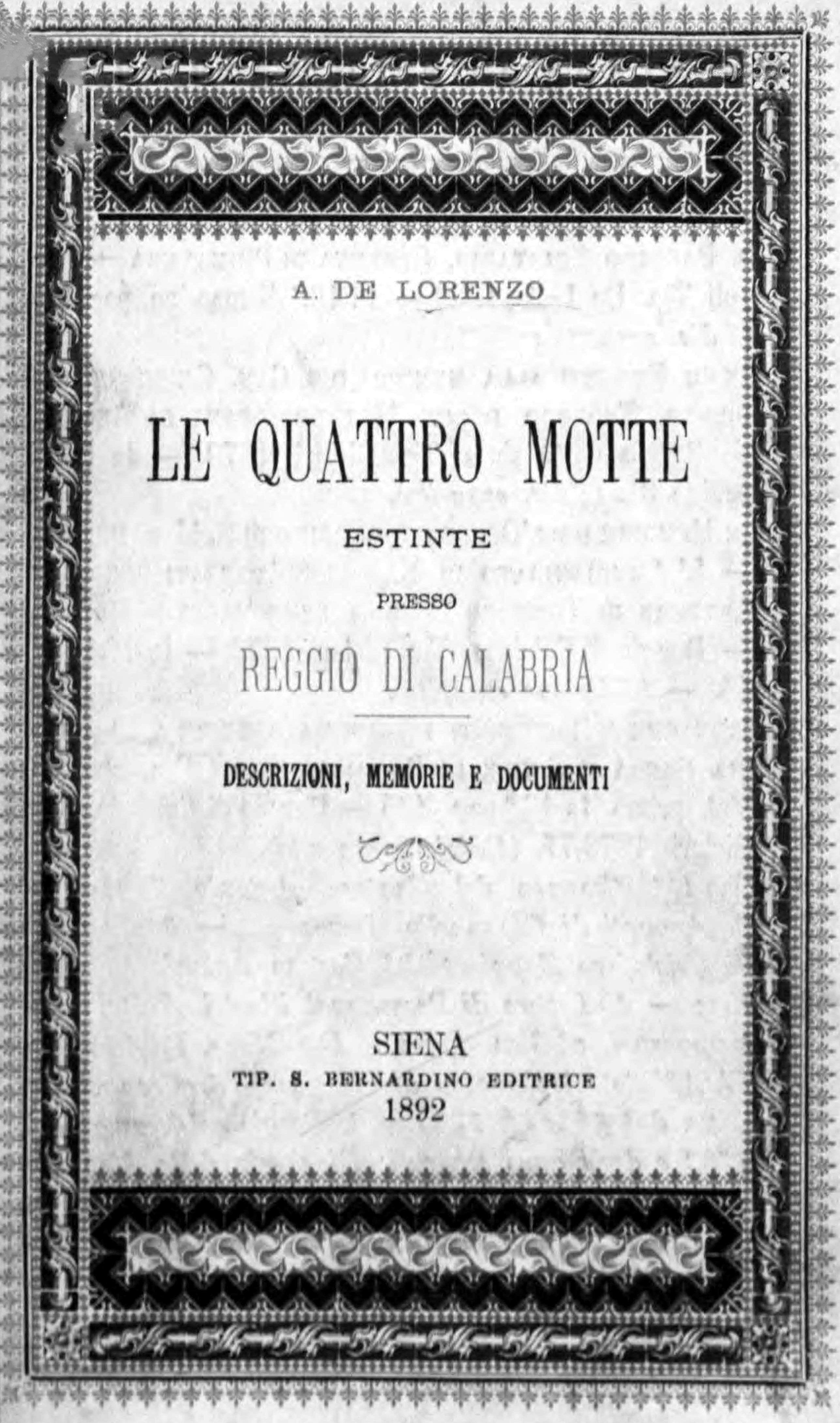 Le Quattro motte estinte presso Reggio Calabria