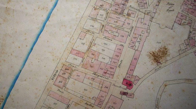 mappa bagnara 1875calabra stralcio centro