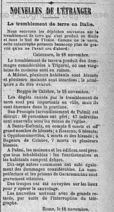 Bagnara terremoto  16 novembre
